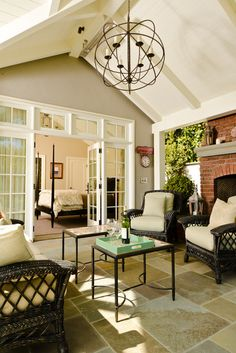 Marvin Exterior Swinging French Patio Doors offer remarkable design flexibility with trusted quality. Choose inswing or outswing doors in a variety of styles. Outdoor Rooms, Outdoor Living, Indoor Outdoor, Outdoor Ideas, Craftsman Living Rooms, 3 Season Room, Interior Exterior, French Exterior, Exterior Doors