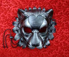 Black and Silver Lion Mask... handmade original by Merimask, $200.00