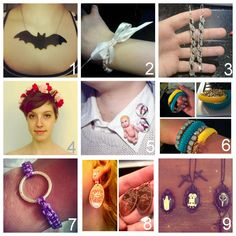 DIY Jewelry by Creative DIY People on Tumblr PART THREE (as usual, for better full sized photos go to the posts). All Tumblr blogs linked to actual posts:  jennamunsterLilly Munster Bat Necklace  darkcrystalbtrfyFinger Crocheted Bracelet with Ribbon Bow  theflappinboxSpiral Beaded Earrings  pixiequrlSpikes and Roses Headband (couldn't decide whether to put in my fashion or jewelry folder - but the spikes pushed it into jewelry!)  hussystyleDetachable Baby Collar (love)…