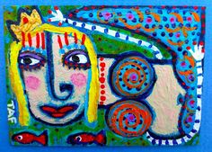 Tracey Ann Finley Original Outsider Raw Folk ACEO Painting Queen Mermaid Fish #4 #OutsiderArt
