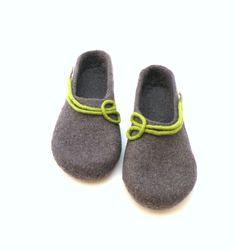 Felted wool slippers  handmade wool clogs  grey green by AgnesFelt,