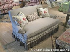 Sofa with ruffle available in loveseat, apartment sofa, sofa and chair. Over 1000 fabrics, many cushion options- Country Willow Furniture