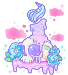 skull, kawaii, and pink image Doodles Kawaii, Kawaii Art, Kawaii Anime, Kawaii Halloween, Kawaii Drawings, Cool Drawings, Gothic Kunst, Gothic Art, Goth Tattoo
