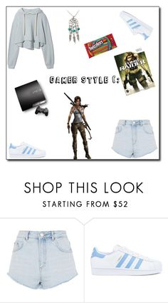 """Gamer style . 🖥  🎥  🖱"" by dzenitamuslija on Polyvore featuring Topshop, adidas, Nintendo, women, polyvoreeditorial, polyvorefashion and yoinscollection"