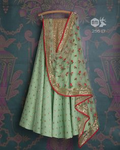 SMF LEH 256 17 | Fern sequin lehenga with matching floral threadwork dupatta and gold sequin blouse (SOLD)