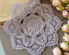 Crochet Doily / Texturé Crochet Nappely / Dentelle Crochet | Etsy Texture, Crochet Doilies, Decoration, Washi, Lilac, Coasters, Crochet Earrings, Rugs, Cotton