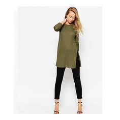 LASPERAL 2017 New Solid Long Sleeve Tops Fashion T-shirts For Women Women's T-shirts O-Neck Army Green Tops Open Side Slipt #Affiliate