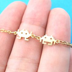Space Invaders Gamer Girl Pixel Alien Charm Bracelet in Gold | Atari Arcade Game Inspired Jewelry