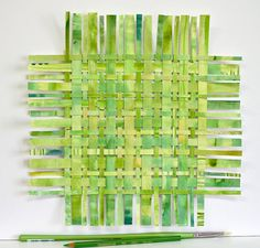 Light Green Paper Weaving- Original Watercolor Woven Art- 12x12- Abstract Modern Art- Lime, Chartreuse