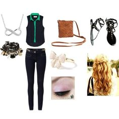 Infinity necklace curly hair teen fashion outfit cute blue ...