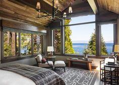 cabana-de-madera-dormitorio-estilo-rustico-lampara-de-cuernos-lago-tahoe