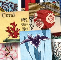 150-year-old Japanese woodblocks, restored and cut into 7/8 inch squares to make glass tile magnets and pendants. Printable image sheet by piddix.