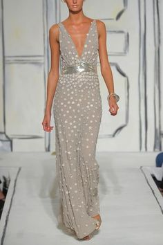 Oscar de la Renta Beaded Georgette Gown!  This elegant number is shimmery (love that!), yet somehow subdued thanks to the neutral oyster hue and simple silhouette.