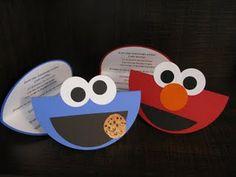Cookie monster/Elmo bday invites. Love this idea
