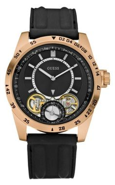 Guess U18511G1 black dial rose-gold tone bezel silicone strap men watch NEW
