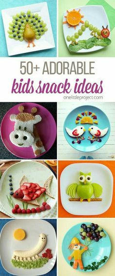 These snack ideas are ADORABLE! Some people are so clever! I never would have thought of all of these amazing food art ideas, but they really are creative! recipe for kids lunch Adorable Kids Snack Ideas Cute Snacks, Cute Food, Good Food, Funny Food, Fun Snacks For Kids, Kid Food Fun, Kids Fun Foods, Kid Foods, Food Art For Kids