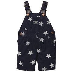 Fashion finds for your baby's first 4th of July. These star-patterned overalls would be adorable with a red tee underneath!