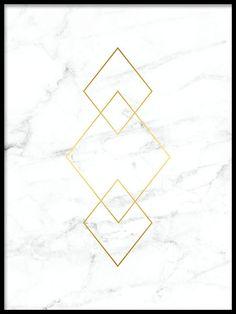 Tavla med guld på vit marmor.