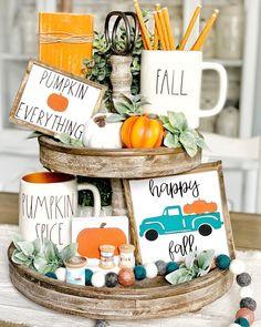 Thanksgiving Decorations, Seasonal Decor, Halloween Decorations, Fall Decorations, Fall Home Decor, Autumn Home, Happy Pumpkin, Pumpkin Spice, Tiered Stand