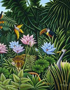 Henri Rousseau - Welcome to the jungle - free yourself by widening your circle of compassion; embrace all living creatures Jungle Scene, Jungle Art, Henri Rousseau Paintings, Art Tropical, Tropical Birds, Art Conceptual, Frida Art, Post Impressionism, Art Moderne