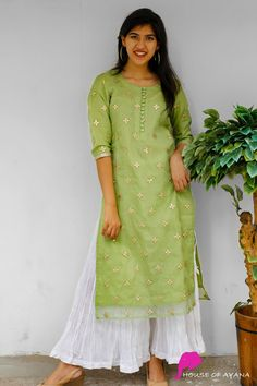 Elle Organza Kurti with Crushed Palazzo - UI Design Board Simple Kurta Designs, Silk Kurti Designs, Salwar Designs, Kurta Designs Women, Kurti Designs Party Wear, Latest Kurti Designs, Dress Neck Designs, Designs For Dresses, Blouse Designs