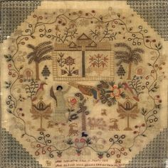 TWO ENGLISH NEEDLEWORKS, THE FIRST WROUGHT BY SARAH PLUMMER, THE SECOND BY ANN JENKINSON.