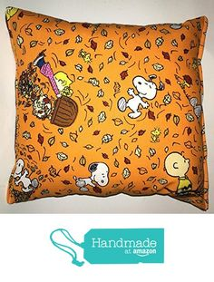 "Charlie Brown Pillow Snoopy Peanuts Leaves Harvest Fall Pillow Fall Harvest Halloween, Thanksgiving HANDMADE in USA NEW Pillow is approximately 10"" X 11"" from My Pillows Ashley-Designs https://smile.amazon.com/dp/B01KNL2OOA/ref=hnd_sw_r_pi_dp_QUg0zbDCWTAAX #handmadeatamazon"