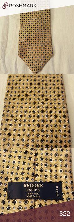 Brooks Basics Tie Brooks Basics Tie, yellow and blues, pure silk, great condition Brooks Accessories Ties