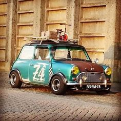 How do you transport your Mini around ? Like this hahah Love it Share it Like it Thanks. Mini Cooper S, Mini Cooper Classic, Classic Mini, Classic Cars, Vintage Sports Cars, Retro Cars, Micro Rc, Mini Morris, Rat Look