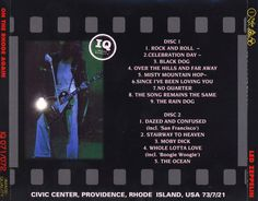 Bootleg Album Covers for the Providence, RI Show (rear side) 21 July 1973