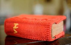 knitted book in the library of Vaucluse House