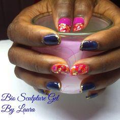 #biosculpture #nailart #goldleaf #gel #nails Bio Sculpture Gel Nails, Creative Inspiration, Nailart, Beauty, Beauty Illustration