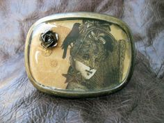 Victorian Lady with Rose and Fan Steampunk Belt by FeliciaBleuRose, $30.00