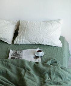 Linen Duvet Cover in Green / Stonewashed Linen Bedding / Soft My New Room, My Room, Bedroom Inspo, Bedroom Decor, Bedroom Signs, Bedroom Rustic, Bedroom Ideas, Linen Duvet, Linen Fabric