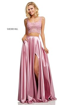 a0cacf0356f Two-Piece Long Sherri Hill Prom Dress with Lace Top