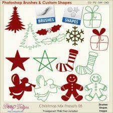 Christmas Brush & Shape PRESETS 08  #CUdigitals cudigitals.comcu commercialdigitalscrapscrapbookgraphics #digiscrap