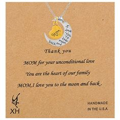 Xiehou Mom I Love You to the Moon and Back Engraved Heart Crescent Pendant Chain Necklace Xiehou http://www.amazon.com/dp/B00WG7F3QQ/ref=cm_sw_r_pi_dp_0gzovb0SNMB1R