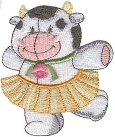 Clarissa - dancing comical cow machine embroidery design