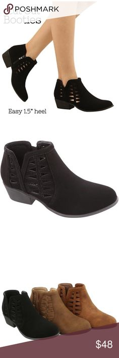 """Black Cut Out Booties Faux suede black cut out bootie. Easy heel height 1.5"""". Shaft 3"""". Zipper side closure. The perfect go to bootie for any wardrobe. Black color only Shoes Ankle Boots & Booties"""