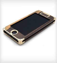 Brass & Dark Hardwood Composite iPhone 5 Case by EXOvault on Scoutmob Shoppe. Gorgeous wood case with screwed bass caps on the ends. So beautiful and hardcore.