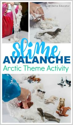 This Arctic Theme sensory activity is a huge hit with preschoolers!Call it a slime avalanche or snow floam, this is a super stretching and fluffy slime recipe perfect for arctic theme activities or winter theme activities for preschoolers. Add some polar animal toys and put it out at the sensory table or in a sensory bin. Add this to your preschool homeschool lesson plans for fun senors play.