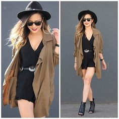Get this look: http://lb.nu/look/7758630  More looks by Marilyn N.: http://lb.nu/marilynnoir  Items in this look:  H&M Parka, Forever 21 Romper, Guess Bootie