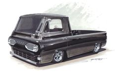 1320 Designs get'n it done with this slammed Econoline pickup  http://www.myrideisme.com/Blog/1320designs-hot-rod-concept-drawings/