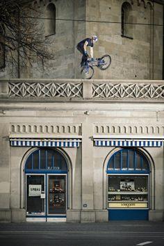 Danny MacAskill takes Zurich. #bike #bmx #dannymacaskill. Image: Lorenz Richard