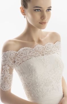 """This picture is a strapless dress, with a seperate lace """"jacket"""" over it. Really neat idea!"""