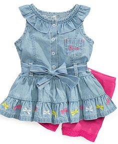 GUESS Baby Set, Baby Girls Newborn Embroidered Ruffle Top and Bike Shorts - Kids Baby Girl (0-24 months) - Macys