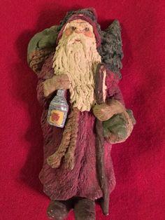 "June McKenna Woodland Santa Claus with Tree Lantern 5"" Christmas Flat Back | eBay"