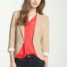 Neutral Linen Blazer Must Have for Spring/Summer Poshing forward Linen blazer in nude/neutral. Got it yesterday (3.9.16) tried on. Bust not fitting :(. 100% linen. Cotton lining. Like new condition. One button closure. Three buttons on sleeve. Size petit medium. Pricing to return what paid not to profit. So many style ideas: one : wear with jeans, darker tee under blazer and flats.. Pic one for style ideas. Gibson Jackets & Coats Blazers