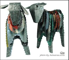 corrugated metal statuary