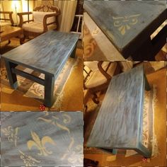 Table makeover with this beautiful blue! 😍😍 #anniesloan #aubussonblue  #paintthemall   #the_toymaker_athens